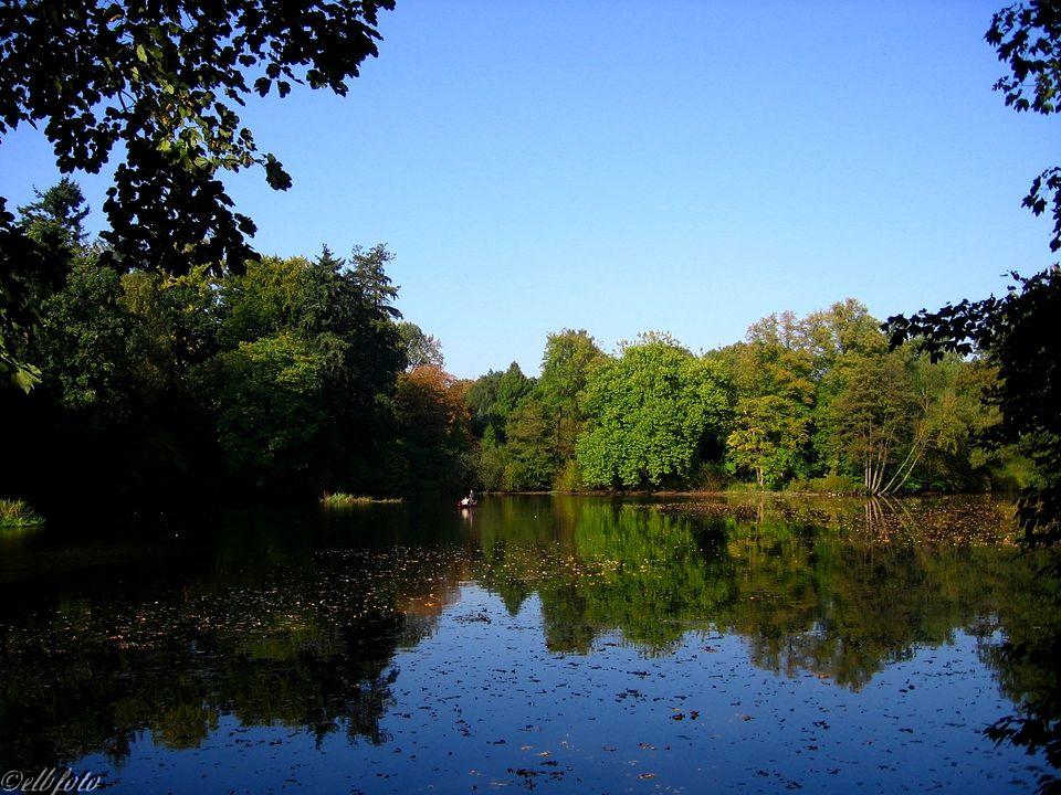 Poppenbüttel: Blick auf die Alster und ihr mit stark belaubten Bäumen bewachsene Ufer im Hamburger Norden